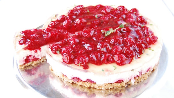 Cottage cheese cake with raspberries 1,7 кg | Cafe Boulevard in Tallinn
