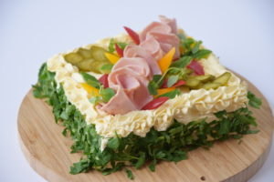 Sandwich cake with ham and creme bonjour cream | Cafe Boulevard in Tallinn